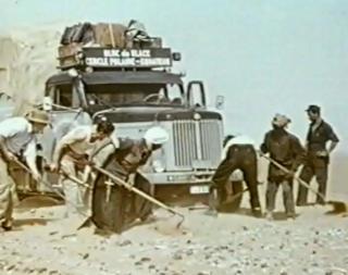 Ice block truck in the Sahara